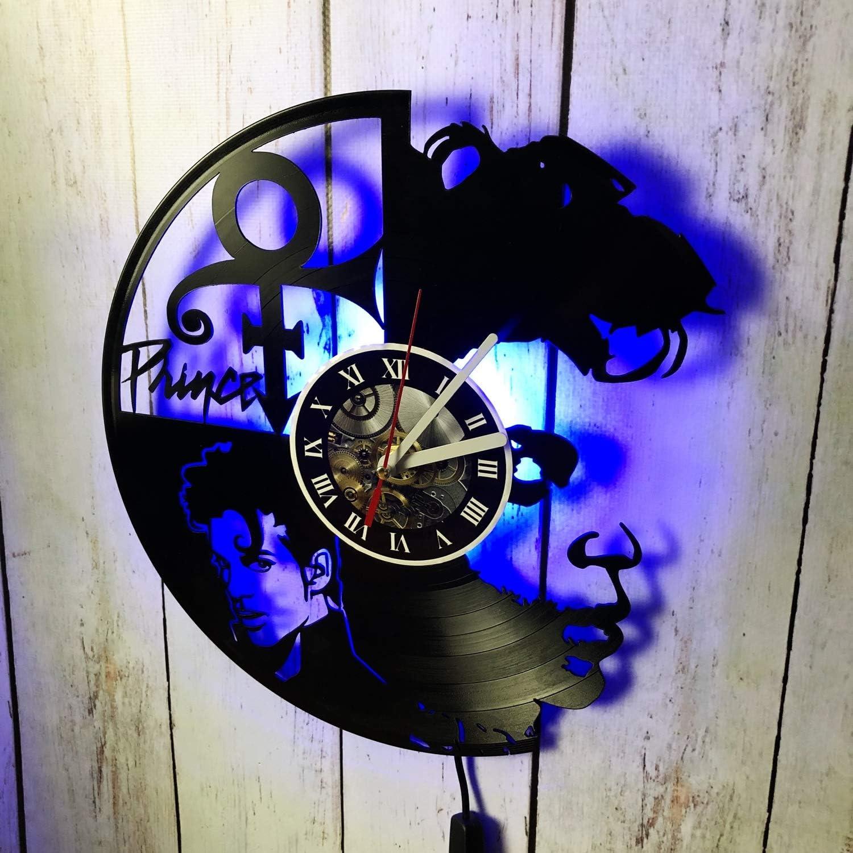 studioRUTART Prince Singer Popular popular Music discount - Wall Backlight LED Cloc Vinyl