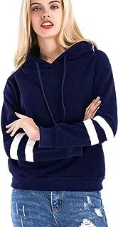 Khhalisi Women's Fleece Full Sleeves Striped Hoodie Sweatshirt (Navy Blue, X-Large)