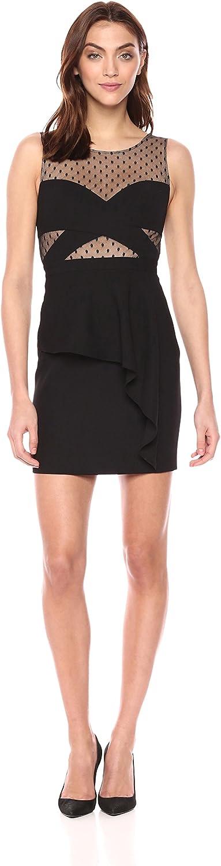 BCBGMAXAZRIA Womens Alder Asymmetrical Peplum Dress Formal Dress