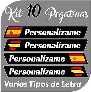 Kit x10 Pegatinas Vinilo Bandera España + tu Nombre - Bici, Casco, Pala De Padel, Monopatin, Coche, Moto, etc. Kit de 10 V...