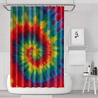 Unicorns Farting Tie Dye Rainbow Art Wallpaper Print Shower Curtain Durable Afrocentric Style Curtain Decor Polyester Fabric Shower Waterproof Curtain Bath Accessories,70.8x70.8in