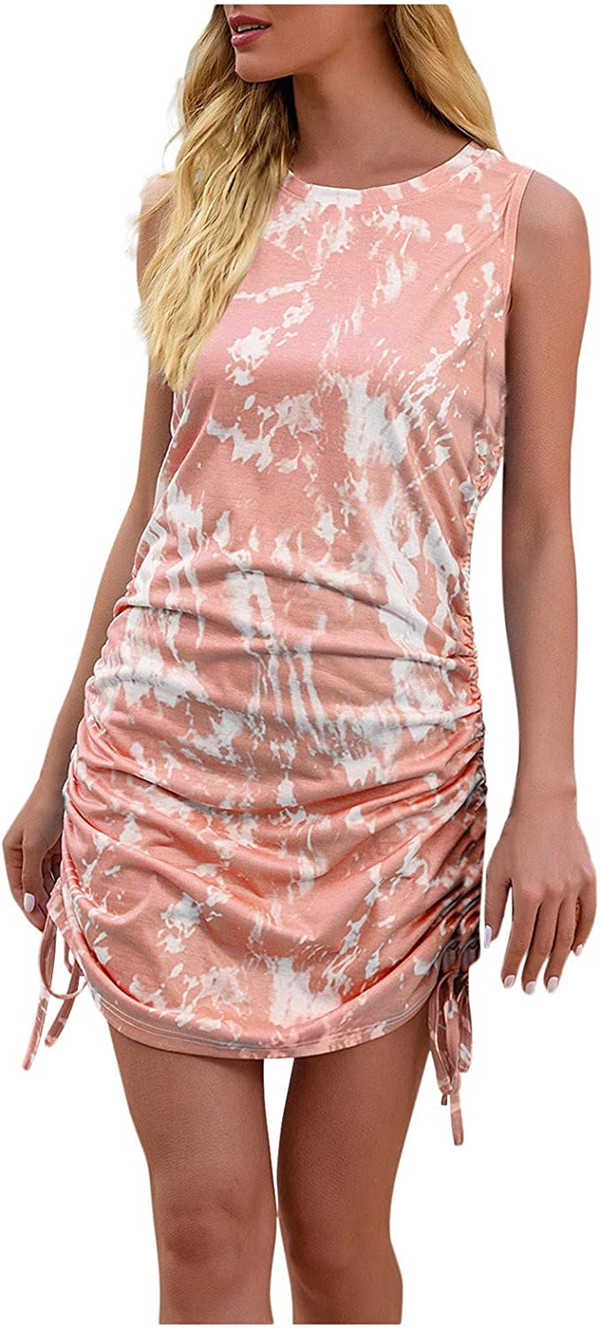 Womens Tie Dye Dress Summer Drawstring Side Bodycon High New Orleans Mall order Novelty Sexy