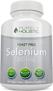 Selenium 200mcg - 365 Vegan Capsules not Tablets - Pure & Yeast Free L-Selenomethionine for Improved Absorption - Thyroid,...