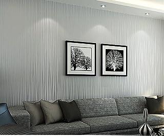 HANMERO Moderno diseño papel pintado rayas, no tejido papel de pared dormitorios/salón/hotel, color gris,(53x1000cm)