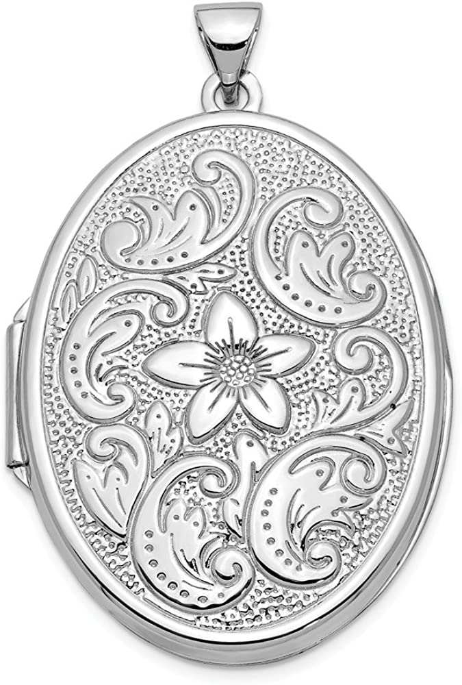 14k White Gold 32mm Oval Flower Scrolls Photo Pendant Charm Locket Chain Necklace That Holds Pictures Fine Jewelry For Women Gifts For Her