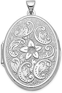 Mia Diamonds 14k White Gold 21mm Oval Floral Scroll Border Locket