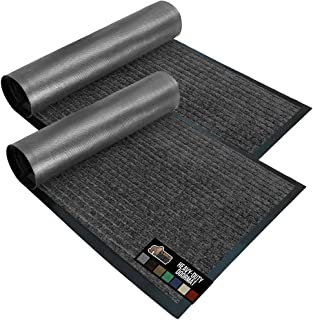 Gorilla Grip Low Profile Rubber Door Mat, 2 Pack, Heavy Duty, Durable Doormat, Indoor and Outdoor, Waterproof, Easy Clean ...