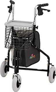 "NOVA Traveler 3 Wheel Rollator Walker, All Terrain 8"" Wheels, Includes Bag, Basket and Tray, Black"