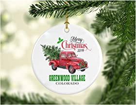 Christmas Decoration Tree Merry Christmas Ornament 2019 Greenwood Village Colorado Funny Gift Xmas Holiday as a Family Pretty Rustic First Christmas in Our New Home Ceramic 3