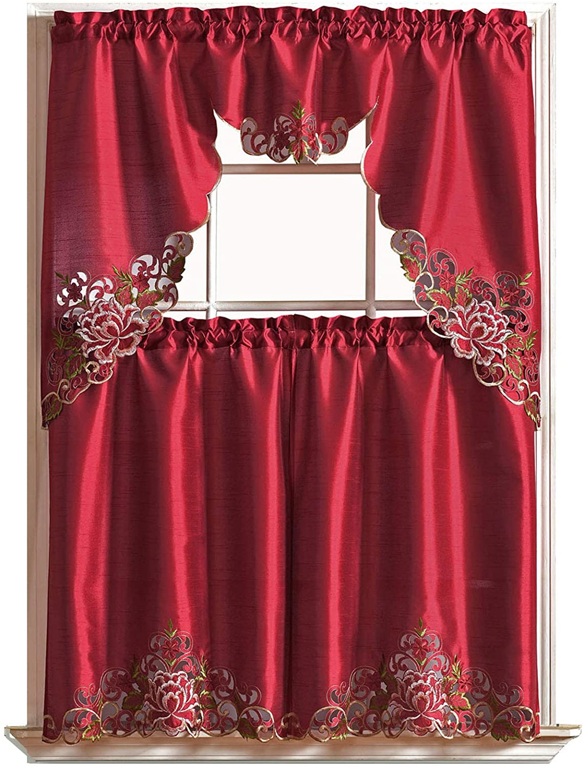Passionate Bloom Kitchen Curtain Set Swag Valance and Tier Set. Nice Embroidery on Faux Silk Fabric with cutworks. (Burgundy)