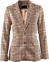 LINGMIN Women's Vintage Two Button Plaid Blazer Elbow Patch Slim Fit Long Blazer Jacket