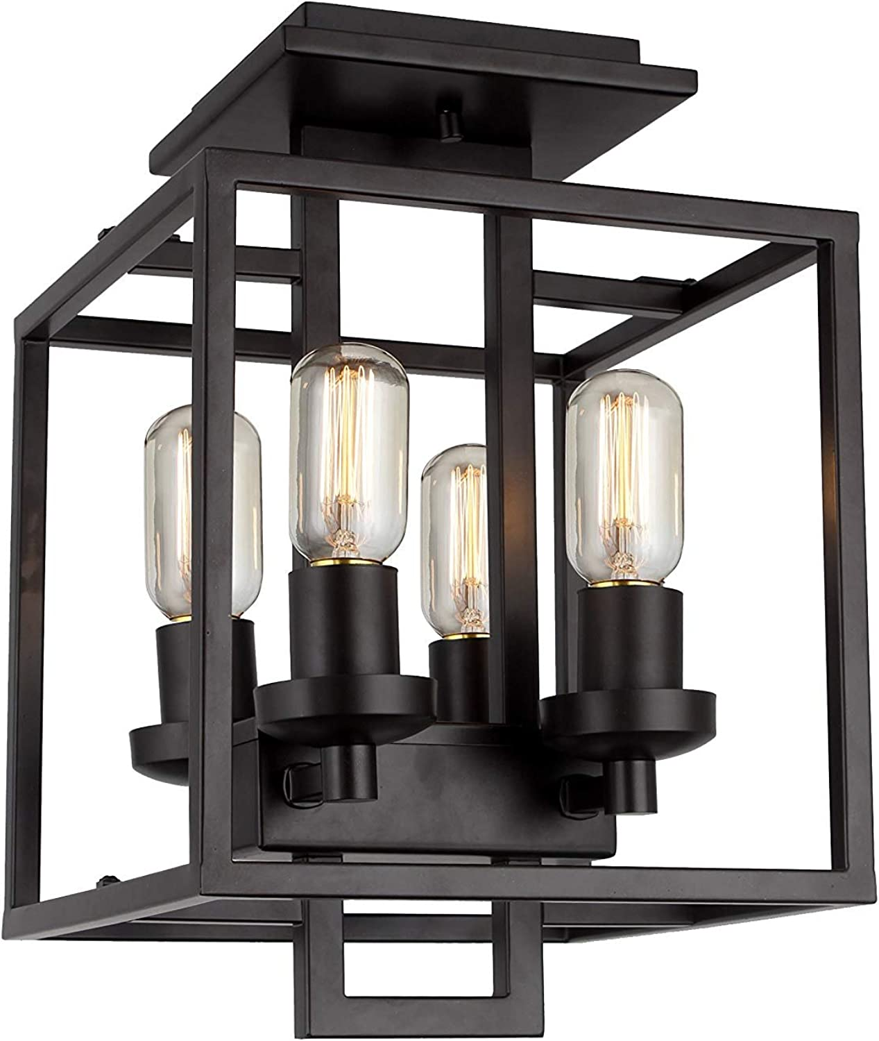 Iron Frame Cube Openwork Cage Flush Mount Ceiling Light Fixture (Aged Bronze Brushed 10  X 10 )