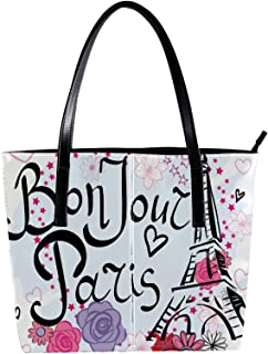 LORVIES - Borsa a tracolla con motivo a torre Eiffel, in pelle PU, con borsa a mano