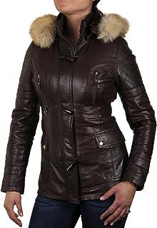 Brandslock para mujer chaqueta de motorista real cuero vendimia marrón