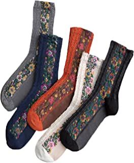 Elufly Women Vintage Casual Floral Print Assorted Color Pile Heap Socks 5 Pairs