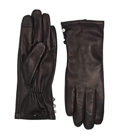 LAUREN Ralph Lauren Three-Button Leather Gloves (Black) Liner Gloves