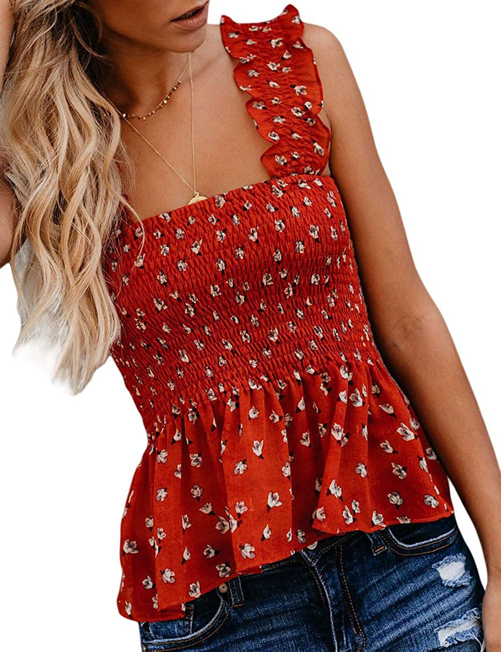 CILKOO Womens Frill Smocked Crop Tank Top Tie Shoulder Strap Vest Tanks Tops Blouse T Shirts(S-XXL)
