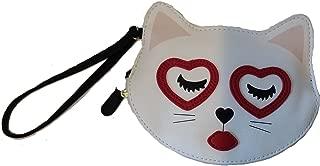 Betsey Johnson Kitty Cat Love Eyes Coin Purse Clutch Wristlet - Medium