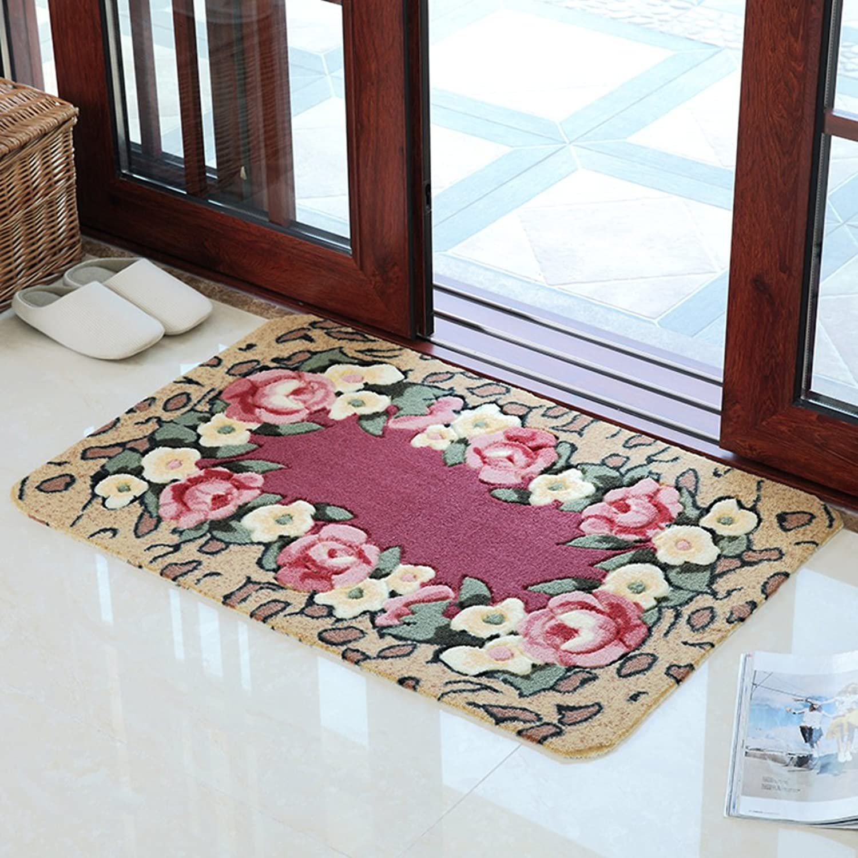 Soft Door Mat, Washable PVC Non-Slip Floor Mat, Entrance Bathroom Kitchen Balcony Corridor, Strong Water Absorption-D 59x88cm(23x35inch)
