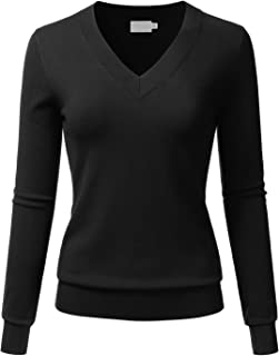 Women's V-Neck Long Sleeve Soft Stretch Pullover Knit Top Sweater (S~XL)