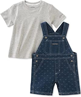 Calvin Klein Baby Boys' 2-Pc. T-Shirt & Denim Shortall Set- Denim
