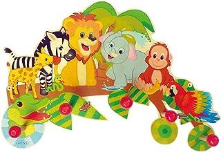 Hess Hess Holzspielzeug 30305 - Garderobe aus Holz, Serie Dschungel, mit 5 Haken, für Kinder, ca. 37 x 26 x 6,5 cm groß, handgefertigt, als Blickfang in jedem Kinderzimmer und Flur