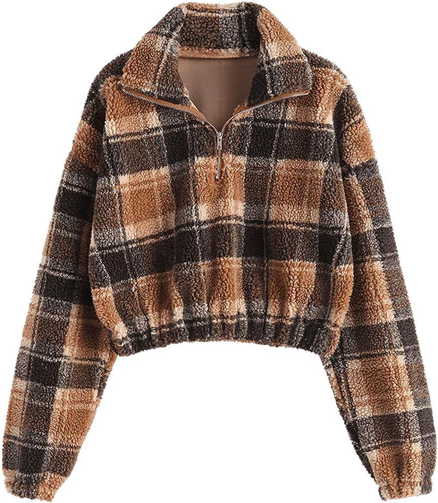 ZAFUL Women's Ranking TOP16 Fashion Long Sleeve Lapel Zip Half Faux Plain Fur Cheap mail order specialty store