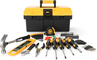 """STEELHEAD 87-Piece Tool Set, Screwdriver Handle, 11 Bits, Magnetic Screwdrivers, Pliers, Tape Measure, 9"""" Torpedo Level, Hammer, Wrenches, Rugged 14"""" Tool Box, Home, Office, Dorm, USA-Based Support"""