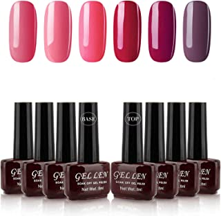Gellen UV Gel Nail Polish Kit with Top Coat Base Coat - Wine Reds Colors Collection Nail Gel Home Manicure Set