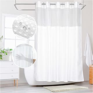 KHH Shower Curtain, Hook Free and Waterproof Waffle Weave Heavy Duty Bathroom Curtain with Snap-in Liner and Mesh Window T...