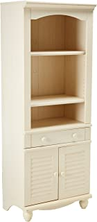 Sauder Harbor View Library/Bookcase With Doors , Antiqued White finish