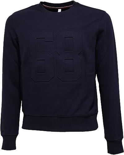 SUN 68 5650K Felpa hommes bleu Heavy Cotton Sweatshirt Man