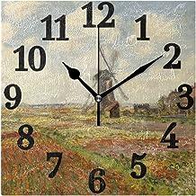 Ahomy - Reloj de Pared con diseño de un Campo de Tulipanes en Holanda Monet, para decoración del hogar, con números Que no se retuercen, para el hogar, la Oficina o la Escuela