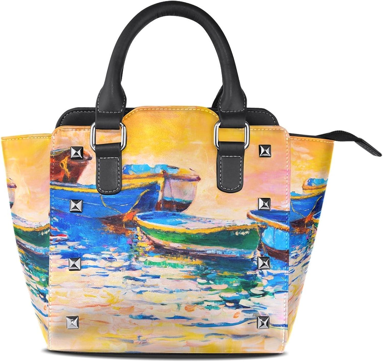 My Little Nest Women's Top Handle Satchel Handbag Oil Painting Boats Sunset Ladies PU Leather Shoulder Bag Crossbody Bag