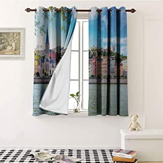 Mozenou European, Room Darkening Wide Curtains, Lyon City Village France with Colorful Historical Cathedral by River Panorama, Waterproof Window Curtain W63 x L63 Inch Multicolor