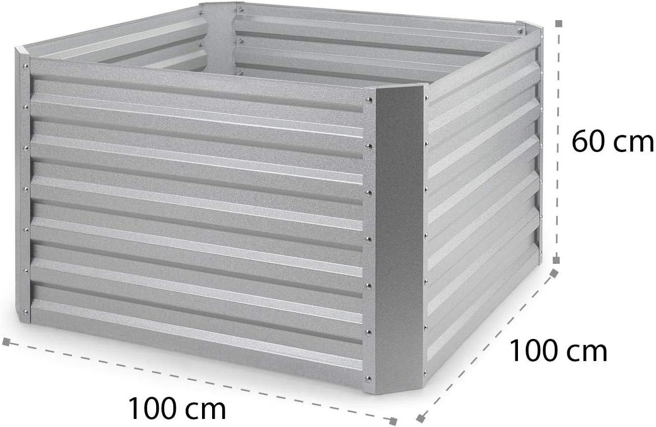 anthracite antirouille blumfeldt High Grow Straight LxHxP dimensions: 120x60x60 cm potager sur/élev/é mat/ériau: acier galvanis/é; /Ø 0,6 mm 4 barres de protection en aluminium volume: 432 l