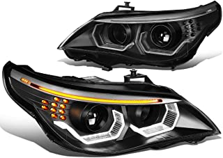 Black Housing Dual 3D Crystal LED U-Halo Projector Headlight Lamps for BMW E60 5-Series 08-10 (Halogen Model Only)