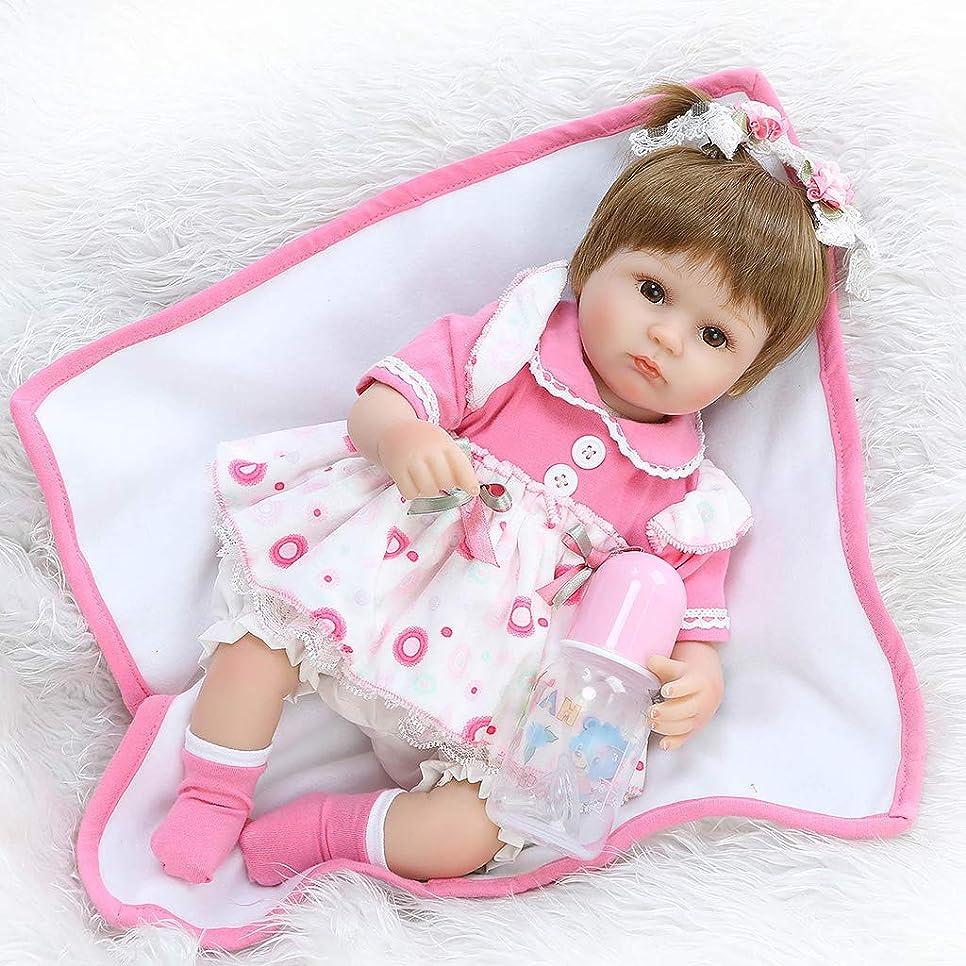 派手スポンジミュージカルManyao 18インチのシリコーン新生児の生きるベビードールブランケットピンクのドレスフラワーヘアループ幼児の子供のおもちゃ