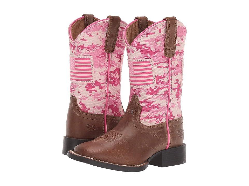 Ariat Kids Patriot Buff (Toddler/Little Kid/Big Kid) (Sand/Pink Camo Print) Cowboy Boots