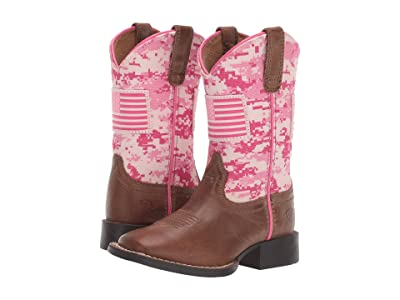 Ariat Kids Patriot Buff (Toddler/Little Kid/Big Kid) (Sand/Pink Camo Print) Cowboy Boots