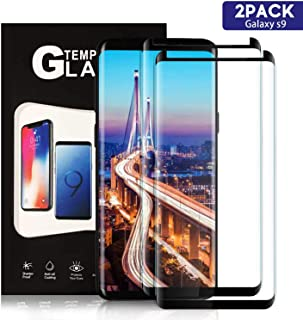 TDNH Galaxy S9 Tempered Glass Screen Protector [2 Pack], Full Coverage HD Tempered Glass Anti-Scratch Bubble-Free Screen Protector for Samsung Galaxy S9 - Black
