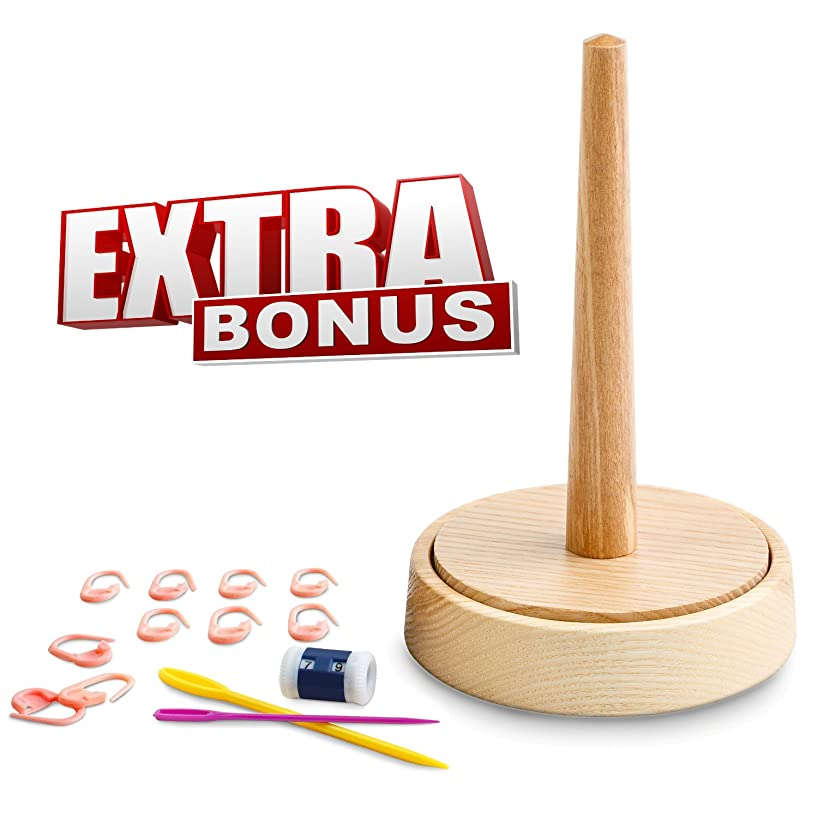 Yarn Holder for Crochet by Laborwood | Handmade Wood Yarn Dispenser | Helps You Prevent Thread Tangling | Set of 3 Gifts as Bonus | Extra Durable European Ash-Tree (Original)