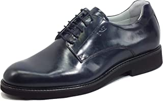 Nero Giardini E101930U King Azul Zapatos Elegantes para Hombre de Piel Abrasivada Interior Cuero