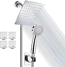 High Pressure 8'' Rainfall Stainless Steel Shower Head/Handheld Combo with 60'' Hose Anti-leak Shower Head with Holder, Flow Regulator, Chrome, 4 Shower Hooks