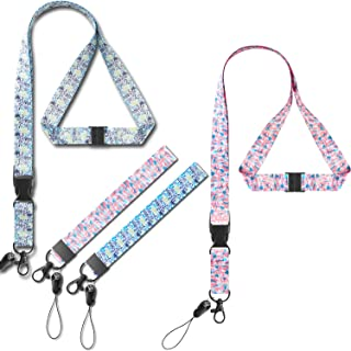 Foshine Lanyard Pink Green wirst Lanyards for ID Badges Holder Cruise Lanyard for Keys Women Kid with Key Ring Hand Wrist Strap with Neck Office Lanyard Wide 0.79 inches Flower Lanyard 2 Pack