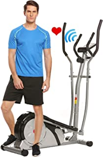 FUNMILY Elliptical Machine Trainer Exercise Training Machine for Home Use Life Fitness Bike with 8 Levels Magnetoresis and Dual Power Motion Pulse Rate Grips/& LCD Monitor Quiet Smooth.