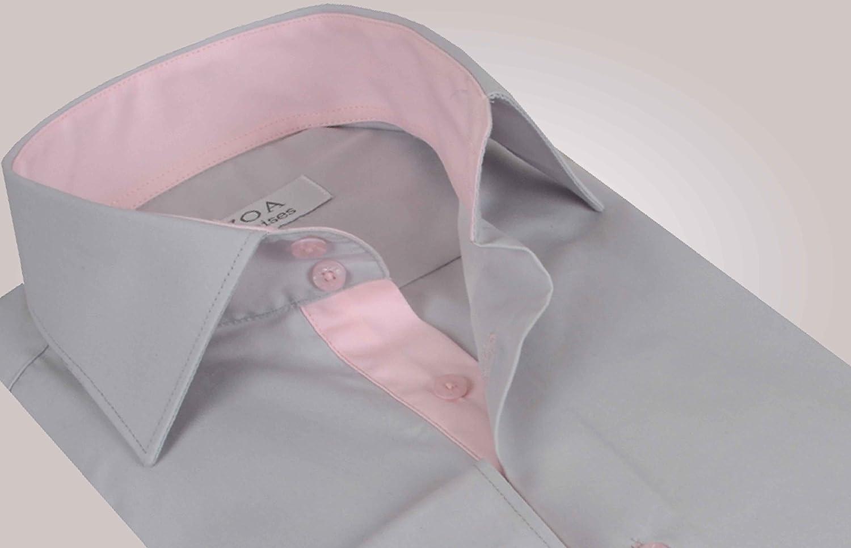 ozoa camisa para hombre – gris claro interior rosa camisa ...