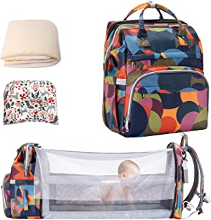 9 in 1 Baby Diaper Bag Backpack with Changing Station,Nappy Bags Portable Travel Bassinet Foldable Crib with USB Port,Large Capacity Waterproof,Baby Bag for Boy and Girl