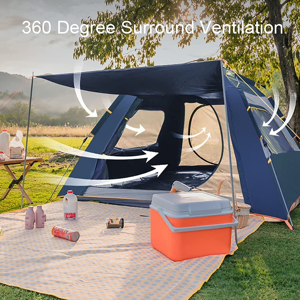 Gluckluz Instant Tent Camping Automatic Easy Pop Up Tent 2 Doors 5-8 Persons Waterproof Windproof Anti-UV Stable Portable Lightweight Dome Tent for Family Friends Backpacking Travel Picnic