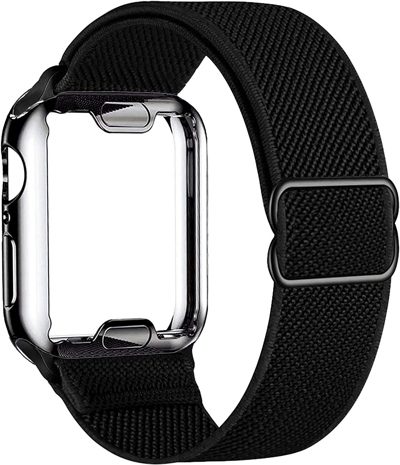 ADWLOF Stretchy Solo Loop with Screen Protector Case Compatible with Apple Watch Bands 38mm,Adjustable Braided Sport Nylon Elastics Men Women Compatible with iWatch Series 6/5/4/3/2/1,SE,Black
